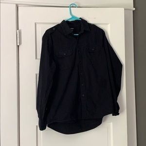 Black Button Down Shirt with Pockets